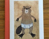 Beaver Animals in Underpants A6 Greeting Card
