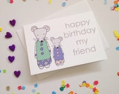 Happy Birthday Mice Card - Free Postage
