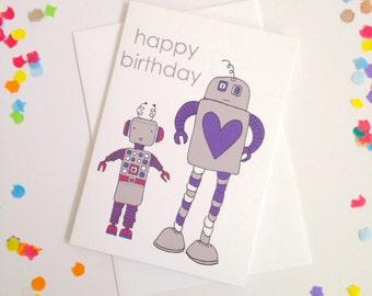 Happy Birthday Robots Card - Free Postage