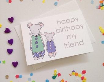 Happy Birthday Mice Card - Free Postage