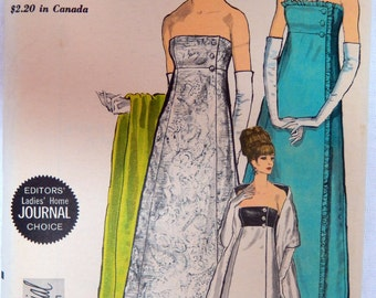 1965 Vintage VOGUE Sewing Pattern # 6638 * Princess Seam Evening Dress & Stole * Special Design Line * Size 16