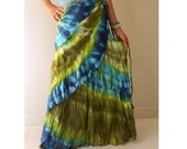Multicolor Tie Dye Cotton Boho Hippie Gypsy Long Summer Ruffle Circle Wrap Skirt S-L (TD 28 )