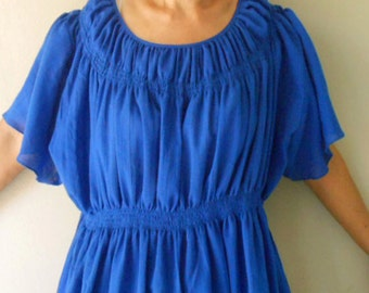 Custom Made Blue Cotton Smock Around Neck Blouse Short Loose Tunic Dress S-L (H)