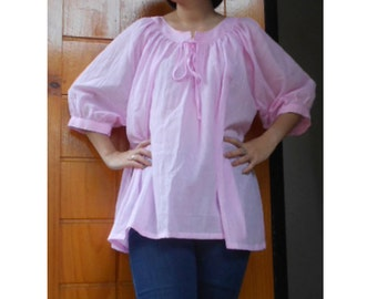Custom Made Light Pink Soft  Cotton Sweet Baby doll Blouse S-L (H)