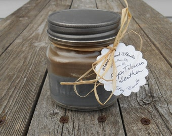 Leather & Cherry Tobacco Layered Soy Candle Wood Wick Men's Candle
