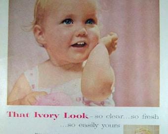 Baby Girl, Ivory Soap, Retro, Soap Ads, Advertising Wall Art, Powder Room Decor, Retro Beauty Ad, Bathroom Ads E102 D
