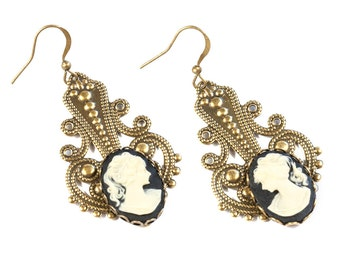 Romantic Steampunk Victorian Antiqued Gold Brass Filigree Earrings with Classic Black and Cream Cameos by Velvet Mechanism