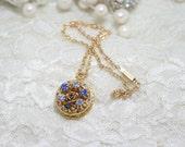 Wedding Photo Locket, Perfect Wedding Shower Gift, Made with Vintage Jewelry, Bridal Shower Gift,  Rhinestone Locket,