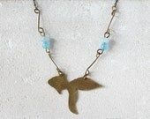 Brass fish necklace, blue turquoise agate and quartz gemstones, summer necklace, seaside beach