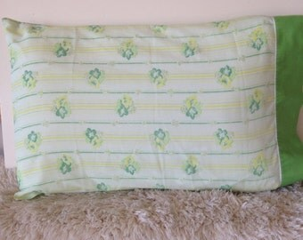 Vintage green floral and yellow stripe pillow case set standard