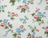 1950s Vintage Wallpaper by the Yard - Floral Wallpaper with Pink and Blue Roses on White