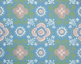1950's Vintage Wallpaper - Blue Pink and Green Geometric Design
