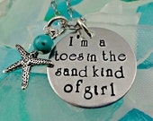 Toes In the Sand Hand Stamped Beach Necklace or Bracelet - Cruise Jewelry - Ocean