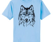 Blue Eyed Wolf Art T-Shirt Youth and Adult Sizes