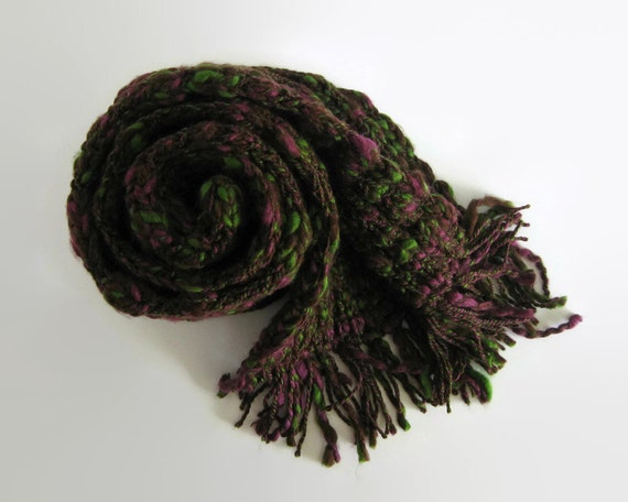 Burgundy Green Wool, Chunky Knit Scarf, Neck Warmer, Long Scarf, Scarf for Men, Chunky Scarf, Womens Scarves, Winter Scarf, Hand Knit Scarf
