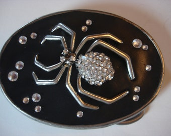 Belt Buckle - Rhinestone Spider