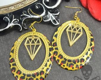 BLING KITTEN - LEOPARD and Diamond Gold Laser Cut Acrylic Charm Hoop Earrings