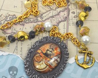TREASURE HUNTER- NAUTICAL Pirate Cameo Glass Cabochon Necklace