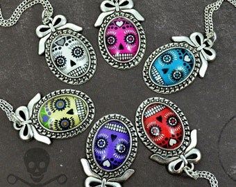CAMEOS AND BONES - Your color choice18 x 25 Silver Frame Cameo Sugar Skull Necklace