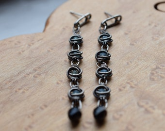 Industrial wire wrapped sterling silver earrings