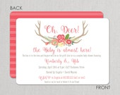 Antler Baby Shower Invitation - Floral invitation - Deer by Swanky Press