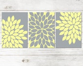 Yellow Gray Wall Art, Bedroom Canvas or Prints Bathroom Artwork, Bedroom Pictures, Flower Wall Art, Pictures, Flower Burst Dahlia Set of 3