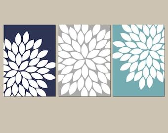Navy Gray Teal Wall Art, Bedroom Kitchen Wall Art, CANVAS or Prints Bathroom Artwork, Flower Wall Art, Flower Burst Dahlia Set of 3