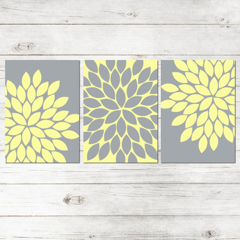 Wall Art Canvas Yellow : Yellow gray wall art bedroom canvas or prints bathroom