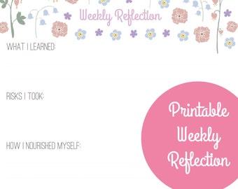 Weekly Reflection Worksheet - PDF printable instant digital download