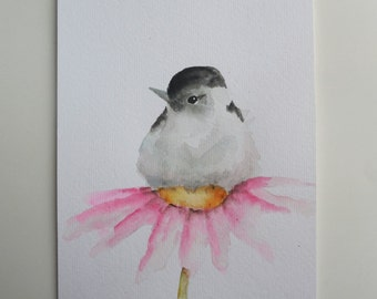 Bird Flower painting watercolor Chickadee original art