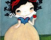 Snow White Print Bird Fairy Tale Poison Apple Art---The Birds Will Take Me Print
