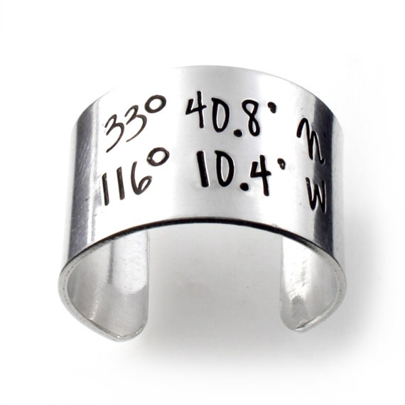 Custom Coordinates Ring in Aluminum or Sterling Silver - Adjustable Wide Band Ring - Personalized Statement Ring