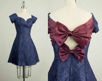 90s Vintage Navy Blue Lace Bow Back Mini Dress / Size Small