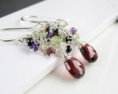Cluster  Earrings  Sterling Silver Wire Jewelry Colorful Stone  Wire Wrapped Cascade Earrings Multi Gemstone Jewelry Multi Colored