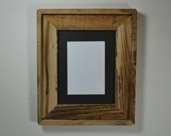 Wide frame for 8 x 10 photos from reclaimed wood with 5x7 mat