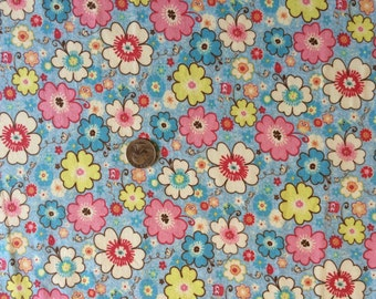 NEW Riley Blake floral on cotton Lycra  knit fabric 1 yd