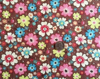 NEW Riley Blake Happy Flappers floral on brown cotton Lycra  knit fabric 1 yd