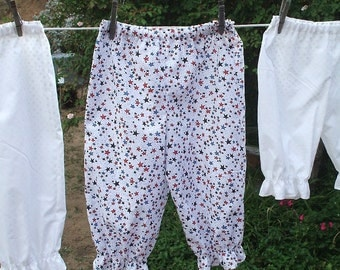 Ready Now! Girls 7-8 Bloomers Red White Blue Stars Patriotic Cotton