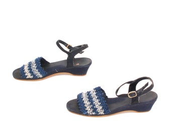 size 7.5 NAUTICAL navy blue canvas 70s 80s STRIPE WEDGE strappy summer heels
