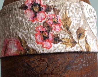 Vintage Barkcloth Headband Hair Accessory Pink Floral.