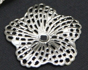 12 pcs of Silver Color hibiscus flower filigree focal 34mm