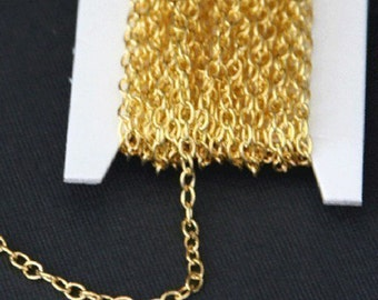 15 ft of Gold Plated round cable chain 2.6X3.9mm - unsoldered