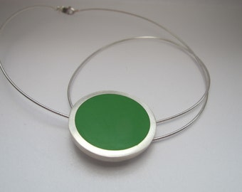 Large Round Green Pendant Necklace - Emerald Green Floating Pendant -  One inch Disc - 16 /18 inch Silver Necklet - Gift for Her
