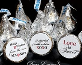 108 Stickers for Candy Kisses® - Wedding Favors, Shower Favors, Hugs® and Kisses® Labels, Love is Sweet, X0X0, Hershey® favors