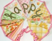 Vintage Nursery Bunting, Vintage Sheet Fabric Bunting, Photo Prop Banner, Nursery Fabric Bunting
