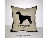 SPRINGER SPANIEL Personalized Pillow - English Springer Spaniel Pillow or Welsh Springer Spaniel Pillow - Unique, Custom Made