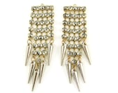 Long Antique Gold with Hematite Color Rhinestones Chandelier Earring Findings with Spikes Mixed Metal Jewelry Supply |S25-15|2