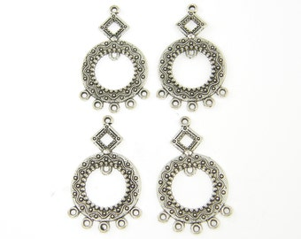 Antique Silver Ornate Tribal Fhandelier Earring Findings with Granulation Detailing Ethnic Jewelry Component |S14-7|4