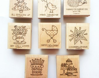 Stampin Up Retired Stamp Set - Fun Fast Notes - Used - Baby, Congratulations, Birthday, Christmas, Thank You, Wedding, Get Well - Cardmaking
