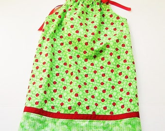 Sundress Girls Size 6 Green with Red Ladybugs
